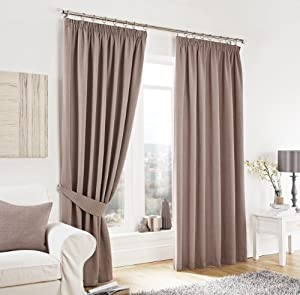 """Taupe Lincoln Herringbone Tweed Thick Lined Pencil Pleat Curtains 90"""" X 54"""" from PCJ SUPPLIES"""