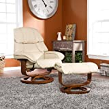 Adjustable Taupe Bonded Leather Recliner and Ottoman , Office Chair