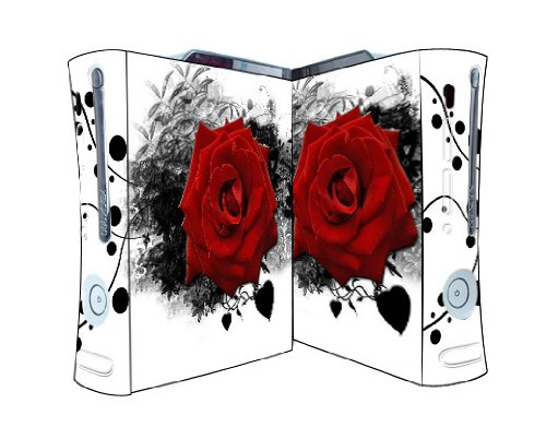 Bundle Monster Vinyl Skins Accessory For Xbox 360 Game Console - Cover Faceplate Protector Sticker Art Decal - Red Rose