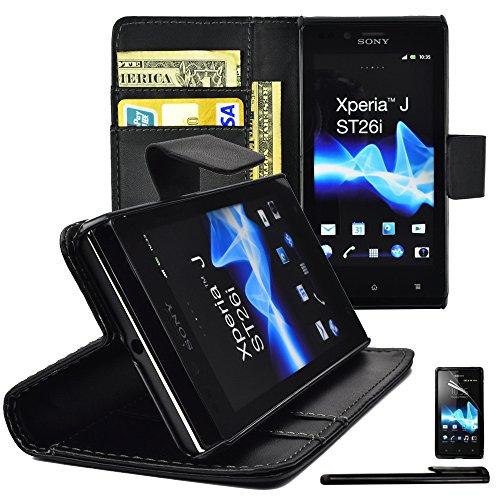 4in1 Wallet für Sony Xperia J ST26i Kunstleder Handy Tasche Brieftasche Hülle mit Magnetverschluss und Standfunktion in Schwarz + 1x Displayfolie + 1xTouchpen
