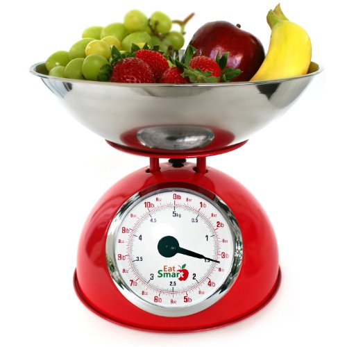 EatSmart Precision Retro Mechanical Kitchen Scale, Red