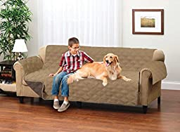 Deluxe Reversible Micro Suede Sofa Furniture Protector, Taupe / Coffee