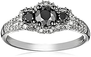 14k White Gold Black and White Diamond 3-Stone Ring (1 Cttw, G-H Color, I1-I2 Clarity), Size 7