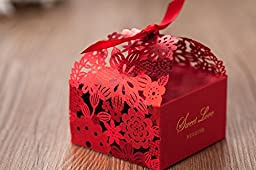 Saitec ® New 50pcs Elegant Laser Cut Red Flower Candy Box Wedding Favor Box , Matching with Invitation CW5086