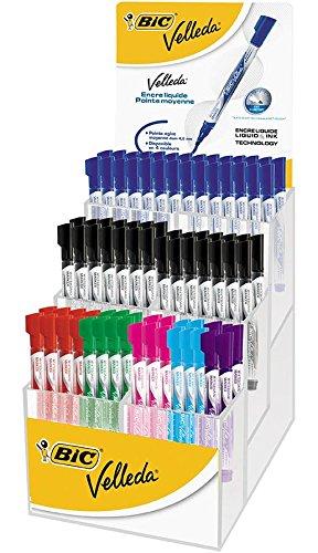 VELLEDA Présentoir de 90 Feutres tableau blanc effaçable LIQUID INK Pocket Pte Ogive Moy. N/B/R/V/Violet/Rose/Turquoise