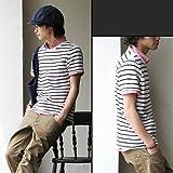 【メンズ】 (リス) LISS 麻 ボーダー柄 半袖Tシャツ