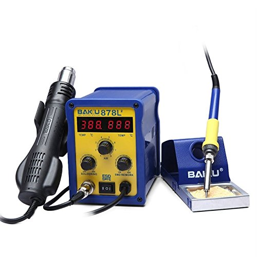 Widely Used Tool Kits Baku BK-878L2 AC 220V Professional LED Display 2 in 1 Hot Air Gun Soldering Iron Soldering Station Perfect for Hobbies