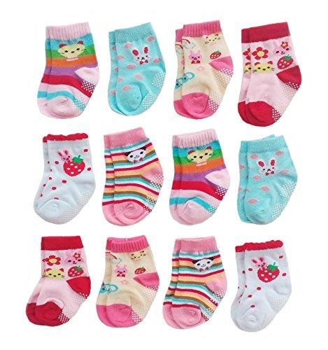 Deluxe Anti Non Skid Slip Slipper Crew Socks For Baby Toddler Girls (6-12 Months, 12-pairs/assorted)