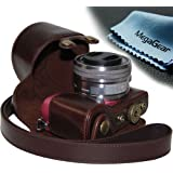 """MegaGear """"Ever Ready"""" Protective Leather Camera Case, Bag for Sony Alpha a5000, Sony a5100 with 16-50mm OSS Lens (Dark Brown)"""
