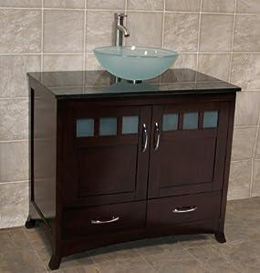 solid wood 36 bathroom vanity cabinet black granite top vessel sink