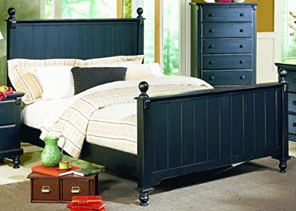 Homelegance Pottery Panel Bed in Black Finish - Full