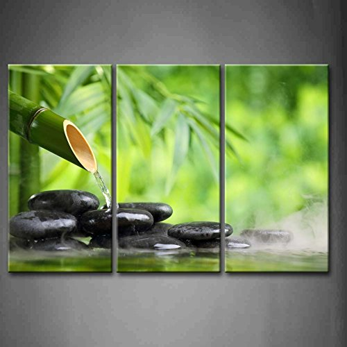 3 Panel Wall Art Green Spa Still Life With Bamboo Fountain And Zen Stone In Water Painting The