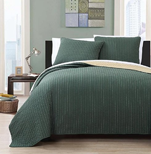 Wholesalebeddings Coverlet Queen Size Olive with Gold reversible Embroidered 3pc Quilt Set (Green Quilt compare prices)