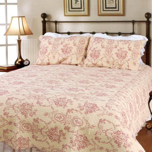 [Serene Night-Red] 100% Cotton 3PC Classic Floral Vermicelli-Quilted Quilt Set (King Size)