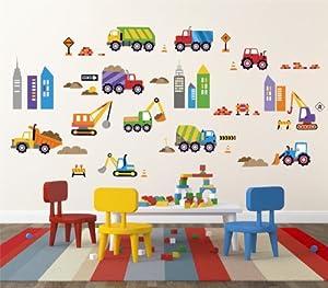 City Construction Decorative Peel & Stick Wall Art Sticker Decals by Cherry Creek LLC