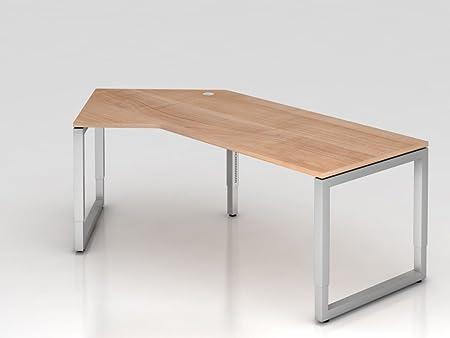 Angolo di tavolo o di base rettangolare, 210x 113cm, 135°, Noce