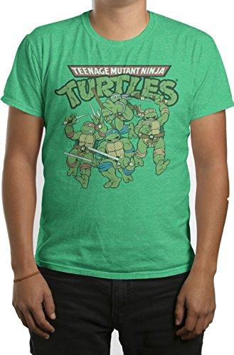 TMNT Teenage Mutant Ninja Turtles Action Mens Kelly Heather T-shirt XXL