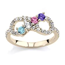 buy Infinity Mothers Ring Customized Solid 10K White Yellow Or Rose Gold With 1 2 3 4 5 Or 6 Birthstones W Cz Accents Personalized Family Jewelry
