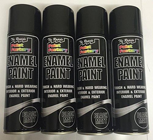 4-x-enamel-black-matt-paint-spray-aerosol-250ml-radiator-metal-wood-etc-tough