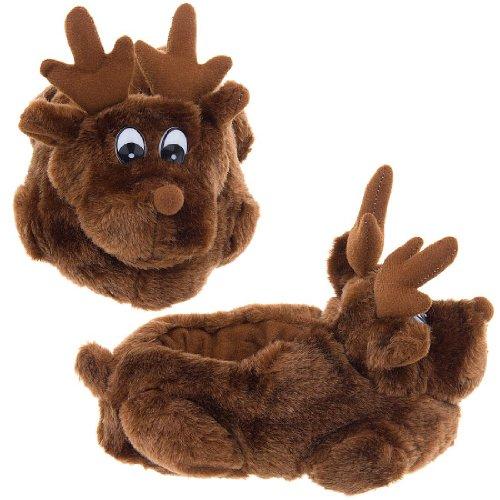 Image of Baby One Reindeer Christmas Slippers for Kids 11-12 (B005NKKKTS)