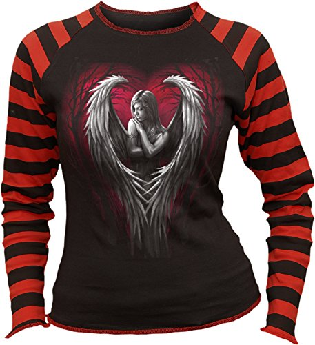 "Spiral a maniche lunghe da donna a righe stampa ""Angel Heart"", Nero"