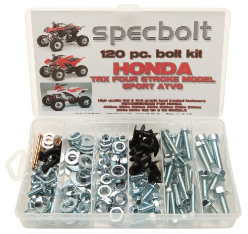 120pc Specbolt Honda 400EX & 250EX Bolt Kit for Maintenance & Restoration OEM Spec Fasteners Quad TRX400EX TRX250X aslo great for ATC & TRX 350x 300ex 300x 250ex 250x 200sx 200s 200x 125cc 110cc & TRX90 models. (400ex Plastics Fenders compare prices)