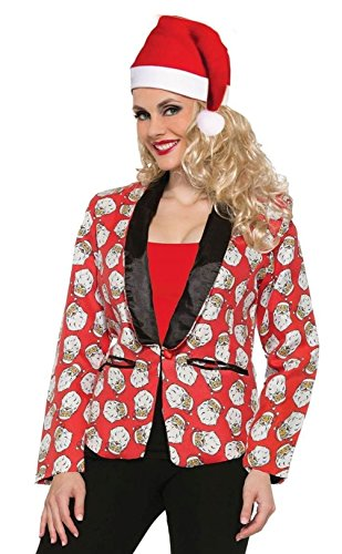 Lady Santa Claus Blazer Suit Jacket Costume Green Red Christmas SM-MD-LG
