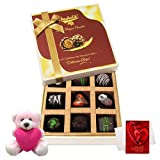 Chocholik Luxury Chocolates - Sweet Assortment Of Drak Chocolate Treats With Teddy And Love Card
