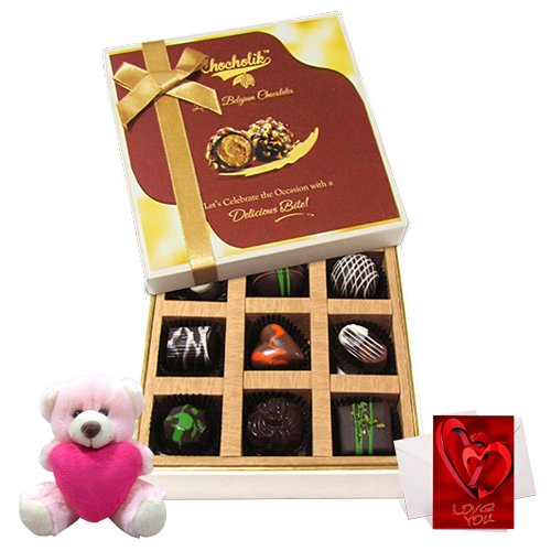 Sweet Assortment Of Drak Chocolate Treats With Teddy And Love Card - Chocholik Luxury Chocolates