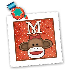 3dRose qs_102816_2 Cute Sock Monkey Girl Initial Letter M-Quilt Square, 6 by 6-Inch