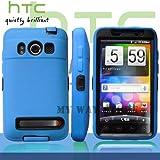 HTC EVOケース スクリーン プロテクター付属3重構造 (au WiMAX ISW11HT Screen Protector Case ) 【黒 × 青】