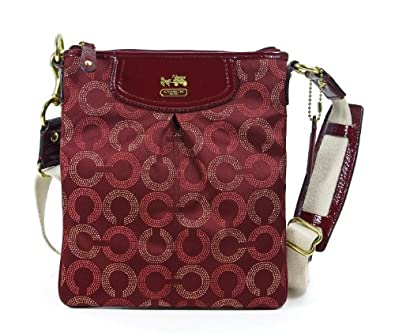 Coach Madison Dotted Op Art Swingpack Shoulder Bag Crimson