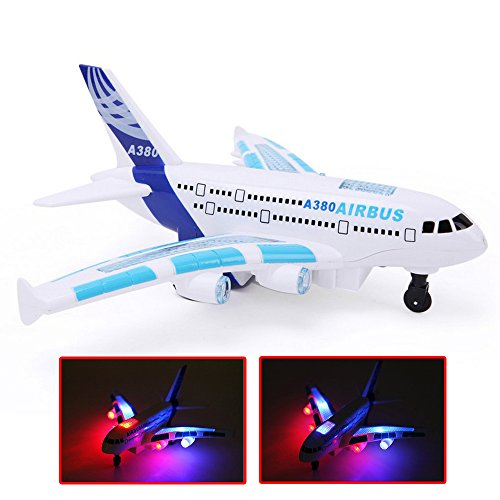 Eonkoo Great White Body Electric Airplane aircraft Toy Airbus A380 with 3D Flashing Lights and Sound High Quality Plastic aeroplane Plane Changes Directions on Its Own for Kids Children (Remote Control Air Plain compare prices)