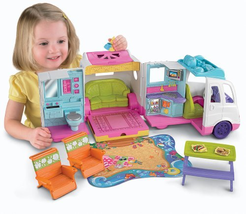 Everything You Need For Dollhouse Play On The Go! - Fisher-Price Loving Family Beach Vacation Mobile Home