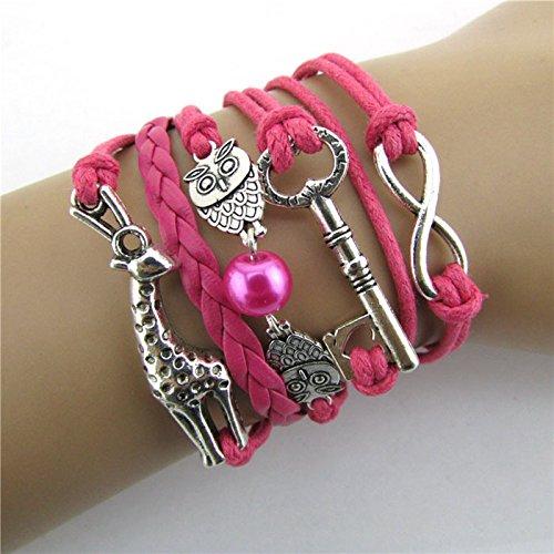 Doinshop-New-Useful-Cute-Nice-Infinity-Owl-Giraffe-Key-Friendship-Leather-Charm-Bracelet-Alloy