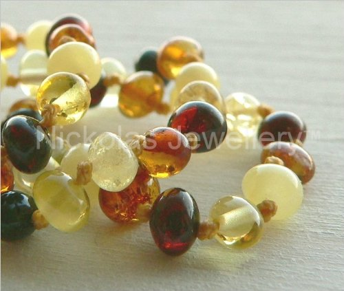 Children's Multicolour Amber Necklace - Baroque Beads