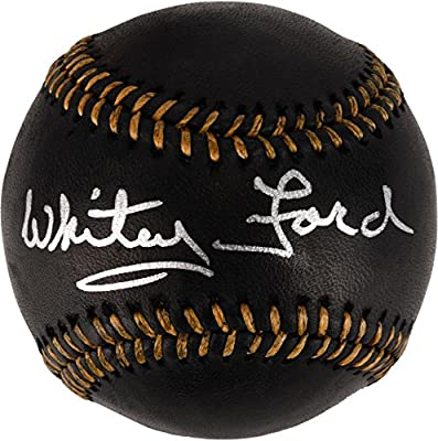 Whitey Ford New York Yankees Autographed Black Leather Baseball - Fanatics Authentic Certified - Autographed Baseballs
