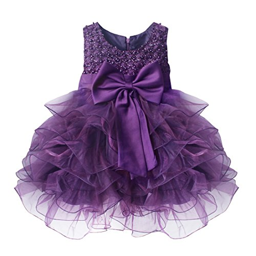TIAOBU Baby Girls Flower Wedding Pageant Princess Bowknot Communion Party Dress Purple 9-12 Months