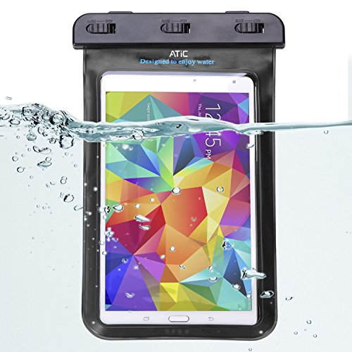 ATiC ストラップ付き透明防水ケース - iPad Mini Retina, Mini 3, Mini 4, Google Nexus 7 (FHD), ASUS Nexus 7, Samsung Galaxy Tab 2 /3 / 4 / 5 7.0 8.0, Tab S 8.4, Tab Pro 8.4, Sony Z3, LG G Pad 7.0 / 8.0 / 8.3, Tab 3 Lite 7, Note 8, Dell Venue 7.0 / 8.0 / 8.0 Pro / Venue 8 7840, Verizon, Nvidia Shiled, Lenovo Tab 2 A7-10 / A7-30, Yoga 2 8, Tab S8-50, Zenpad C 7.0 Z170C,Zenpad S 8.0 / W W1-810, MeMO Pad HD7, ASUS ME173X/他の8.4インチ以下のタブレットに適用ストラップアームバンド式両用防水 ケース。防水保護等級 : IPx8。BLACK