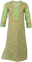 ALMAS Lucknow Chikan Cotton Regular Fit Kurti (Green and Magenta)