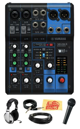 Yamaha Mg06X 6-Channel Mixing Console With Built-In Fx Bundle With Vocal Mic, Headphones, Xlr Cable, Instrument Cable, And Polishing Cloth