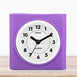"Hense Silica gel Lovely Colorful Cartoon Child Mute Quartz Movement ""Non ticking"" Needle alarm clock with nightlight HA19 (Violet)"