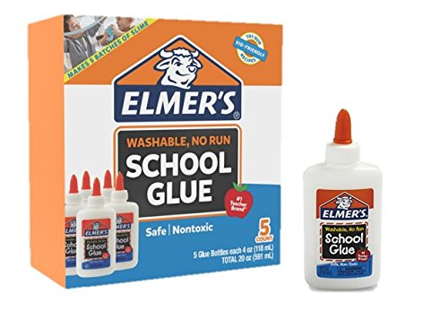 Elmer's Liquid School Glue, White, Washable, 4 Ounces - Great for Making Slime ( 5-Count ) (Color: Washable, Tamaño: 4 Oz.)