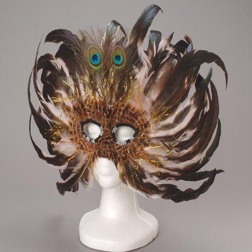 Fancy Peacock Feather Mask - 1