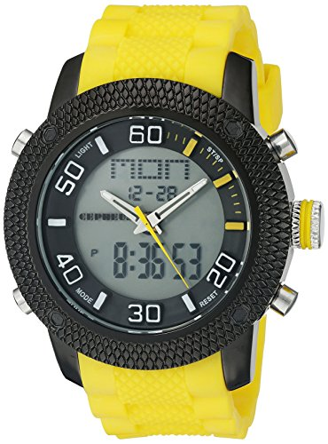 Cepheus Men's Quartz Watch with Grey Dial Analogue - Digital Display and Yellow Silicone Strap CP903-620B