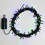 34 Ft. Multi Color Battery Operated 100 LED 8 Function Indoor Outdoor Cool Touch Holiday String Lights with 6 Hour Built in Auto Timer and Batteries Included