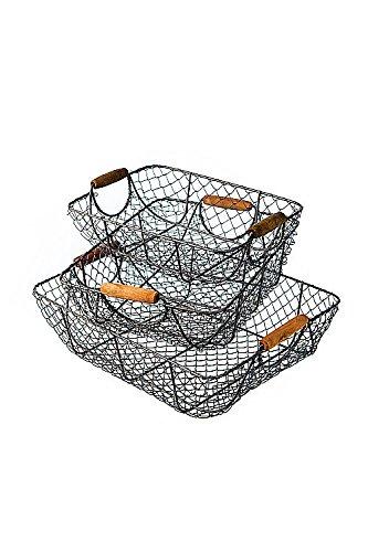 Vagabond Vintage, Set of Three Nesting Wire Baskets with Wooden Handles 2