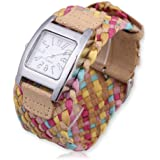 Vktech Fashion Candy Color Braided Plaited Rope Strap Wrap Quartz Lady Wrist Watch