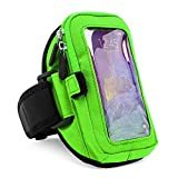 VangoddyTM Green VG Zippered Hardcore Workout Armband For HTC One & Desire Series Smartphones + Green VG Headphones