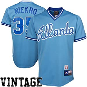 MLB Phil Niekro Atlanta Braves #35 Majestic Cooperstown Collection Jersey - Light... by Majestic